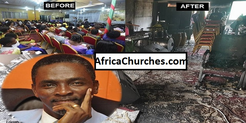 Gun Men entered Rev. Abraham Lamptey's Church, burnt everything down [Photos]