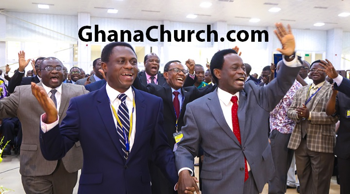Apostle Eric Kwabena Nyamekye (Left) is succeeding Apostle Prof. Opoku Onyinah (Right)
