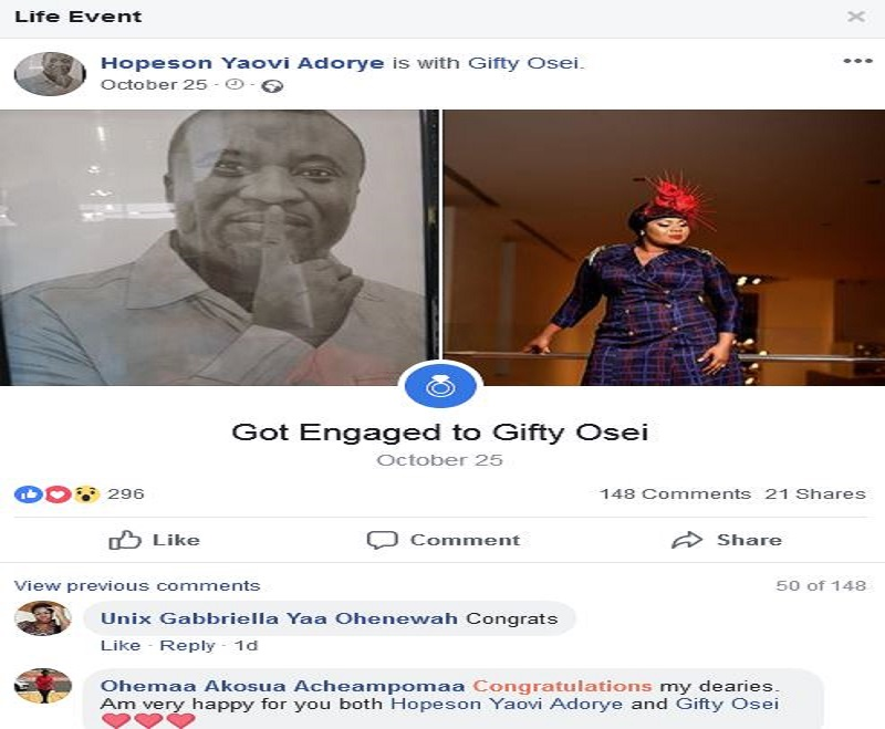 Gifty Osei set to marry NPP's Hopeson Yaovi Adorye