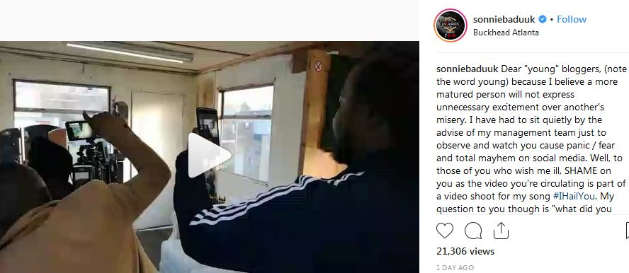 Sonnie Badu responded to Police arrest in UK for holding a gun video