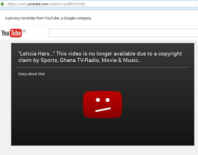 YouTube video deleted because of copyright.